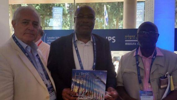 At the Herzliya Conference with the Kenyan Ambassador and his colleague