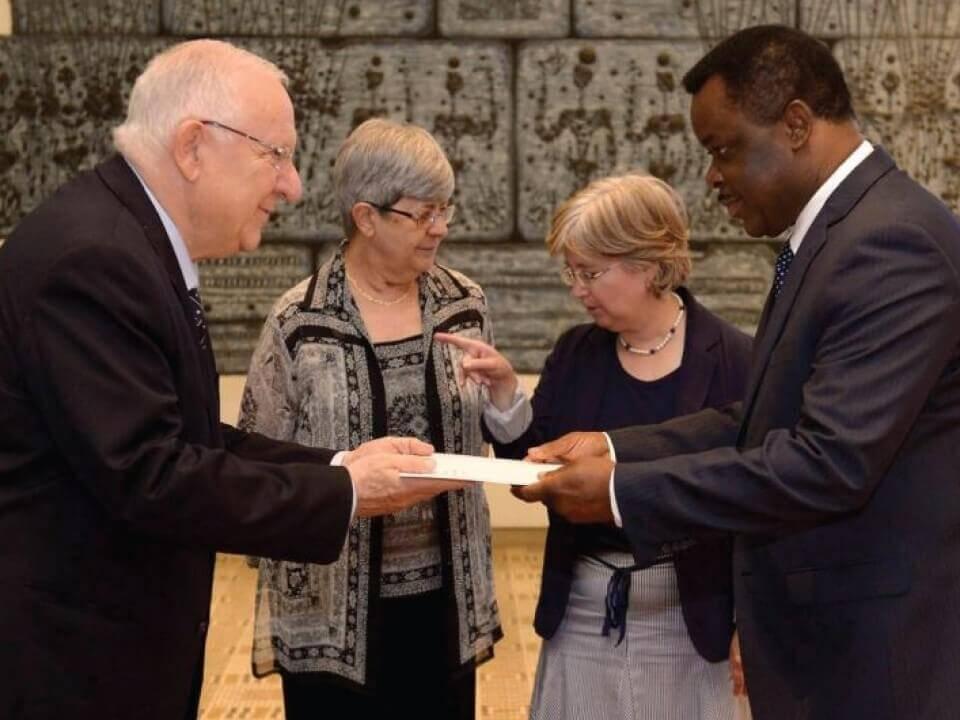 President Reuven Rivlin and Ambassador Eustaquio Nseng Esono of Equatorial Guinea